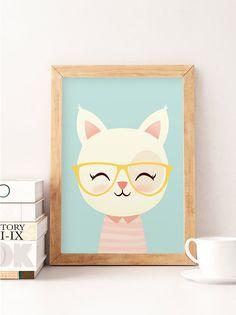 Cute cat print Cat wall art Animals print Safari wall by NorseKids