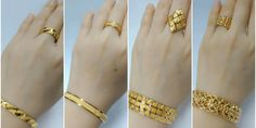 Latest gold bracelet and ring designs - Simple Craft Ideas Plain Gold Bangles, Plain Gold Ring, Gold Bangles For Women, Gold Bracelet For Women, Gold Plated Bracelets, Gold Ring Designs, Gold Bangles Design, Gold Jewellery Design, Gold Jewelry