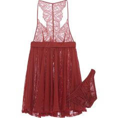 La Perla Tearose stretch-lace and chiffon lingerie set featuring polyvore, fashion, clothing, intimates, lingerie, pajamas, underwear, red, burgundy, stretch lace lingerie, lingerie chemise, la perla, chiffon lingerie and baby doll lingerie