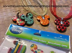 Disney Sticker Jewelry - as a variation on the sticker jewelry, I glued 2 sports puff stickers together, attached to a key ring for a purse decoration - was cute and easy