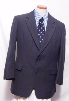 Hart Schaffner & Marx Men's Gray Wool Blend Suit Size 44R…