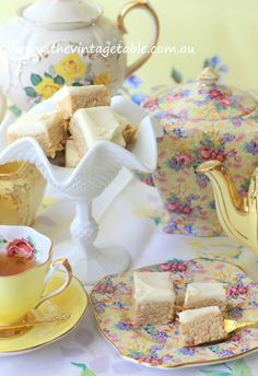 Cheerful lemon yellow vintage china & milk glass for a sunny afternoon tea.