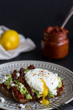 Harissa, Smashed Avocado + Egg Toast with Goat Cheese and Honey Drizzle | halfbakedharvest.com