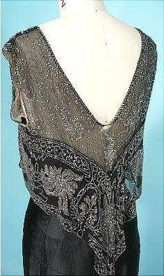 sleeve, c. 1930's Black Silk Charmeuse Bias Cut Gown with Beaded Net Bodice!
