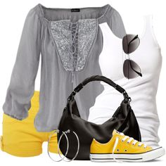 Grey and yellow outfit