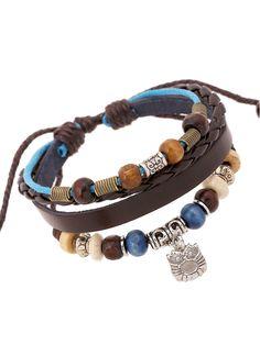 Multicolor Beaded Owl Pendant Leather Bracelet Pack