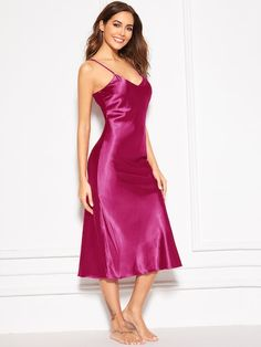 To find out about the Satin Longline Cami Dress at SHEIN, part of our latest Night Dresses ready to shop online today! Satin Cami Dress, Satin Nightie, Satin Lingerie, Satin Dresses, Dress P, Silk Dress, Silk Chemise, Pyjama Satin, Satin Sleepwear