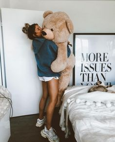 The good thing about looking almost younger than you actually are? its socially accepted to cuddle huge teddies! Giant Teddy Bear, Big Teddy, Boring Pictures, Cute Pictures, Tumblr Profile Pics, Bear Tumblr, Creative Valentines Day Ideas, Teddy Beer, Big Stuffed Animal
