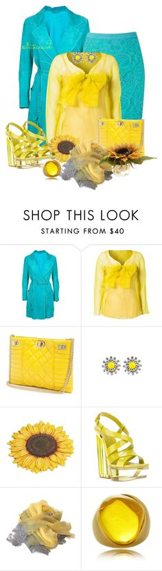 """""""Turquesa y amarillo."""" by gatorosada ❤ liked on Polyvore featuring Sylvie Schimmel, Alexander McQueen, Moschino Cheap & Chic, GUESS by Marciano, DANNIJO, Casadei, Kenneth Jay Lane and The French Bee"""