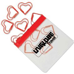 Heart Paper Clips in Clear Pouch with Color Trim #promotionalproducts #ascentives