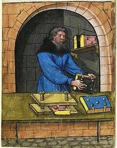 rilegatore di manoscritti - Bookbinder. Landauer Twelve Brothers House manuscript  1400s