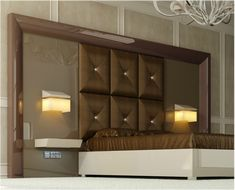 Great headboard ideas can completely transform the look and feel of your bedroom! If you don't believe us, just check out the 30 awesome headboard design ideas in the gallery below. Bed Headboard Design, Bedroom Bed Design, Headboards For Beds, Modern Bedroom, Interior Design Living Room, Bedroom Decor, Brown Headboard, Headboard Ideas, Ikea Mandal