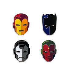 Marvel Civil War Team Iron Man pin set by Tom Whalen for Mondo