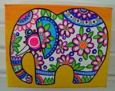 Elephant painting animal art colorful artwork home decor small artwork unique gift acrylic on canvas contemporary art baby elephant by TracyMcGeheeArtist on Etsy Elephant Quilt, Elephant Canvas, Baby Elephant, Colorful Artwork, Colorful Decor, Scandinavian Folk Art, Mandala, Indian Folk Art, Madhubani Painting