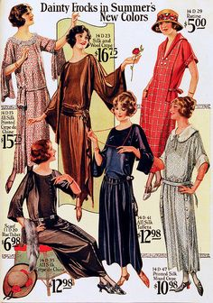 1920s dresses catalog page: short sleeve, flare sleeve, dropped waistline, heels, curly short hair - I pinned it because i like their hairstyle