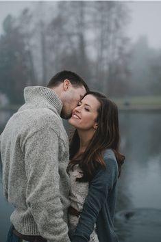 sweater engagemeny | foggy engagement session, winter engagement style, blanket, engagement ...