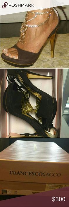 Francesco Sacco Chocolate Brown Gold Rhinestones 9 Worn but in excellent condition with the exception of a few missing rhinestones which is hardly noticeable since there are so many. Size 40 which is a size 9. Comes with box. Francesco Sacco  Shoes Heels