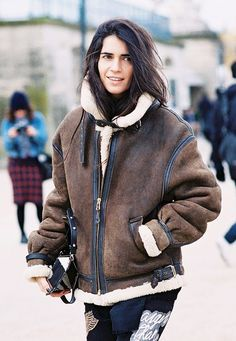Brown leather shearling jacket-the shearling gives the biker jacket a warm touch.