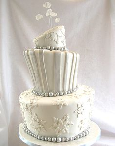 Three-Tier White Snowflake Quince Cake