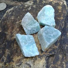Rough Natural Blue Amazonite Stones, Amazonite Crystals ~   Size ~ 26mms to 30mms in size   Perfect size for wire wrapping or enjoying their beauty just the way they are   4 Blue Amazonite Stones in this set $4.00  Link to our Etsy Shop is on our Pinterest Page