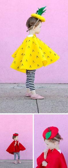 Un disfraz de piña o fresa co un gorro tocado precioso, el vestido se puede hacer con una bolsa amarilla o roja   http://www.multipapel.com/subfamilia-bolsas-basura-colores-para-disfraces.htm