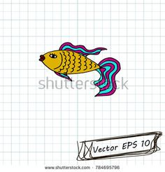 Style of children's drawing. Doodle drawing on a sheet of notebook. Goldfish #bubushonok #art #bubushonokart #design #vector #shutterstock #doodle #banner #sticker #pin #stickers #icon #logos #logo