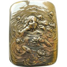 Art Nouveau Cigarette Case Antique Sterling Unger Brothers Woman in Water with Water Lilies, Ophelia, circa 1900