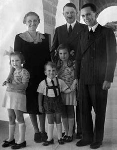 The Goebbels family with Hitler at the Berghof, 1938.  It was at this time that Hitler prevented the collapse of the Goebbels' marriage by forbidding Joseph to divorce Magda for his mistress, actress Lida Baarova.  Hitler then had Baarova deported back to her native Czechoslovakia.