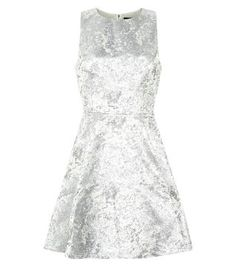 Silver Foil Jacquard Sleeveless Prom Dress