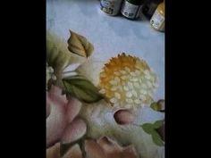Rosas hortênsias folhas fundo da pintura sombreado 3/6