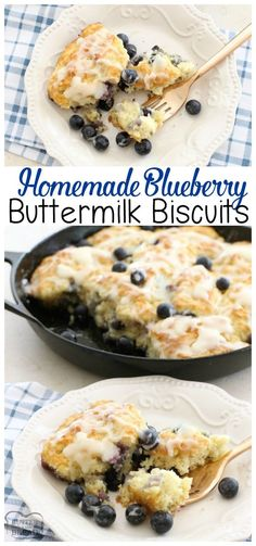 Soft, buttery & flavorful pan of homemade biscuits chocked full of fresh blueberries! Blueberry Buttermilk Biscuits easy bread recipe from Butter with A Side of Bread