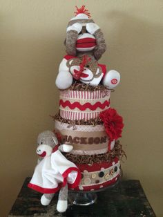 Sock monkey diaper cake for a baby shower