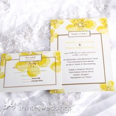 Bright Yellow Cherry Blossom Wedding Invitations IWI061