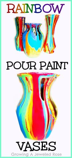 Make BEAUTIFUL rainbow vases using a simple and FUN pour paint technique!  The process and the product are equally BEAUTIFUL and you can even use vases from the dollar store!