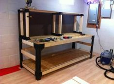Something that will make your woodworking efforts much more efficient and enjoyable is having the correct tools. Typically we point to a professional's skills as what separates him or her from the amateur, but ability isn't the only aspect. Wood Top Workbench, Workbench Plans Diy, Building A Workbench, Woodworking Bench Plans, Woodworking Tools, 2x4 Basics, Reloading Room, Workshop Bench, Garage Workshop Organization