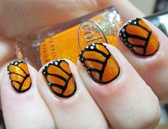 Second Spring Manicure: Monarch Butterfly - fun. Jamberry has a nail wrap that's similar to this design.