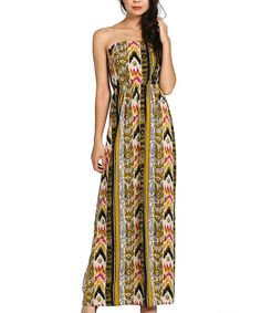 Look at this Olive & Yellow Tribal Strapless Dress on #zulily today!