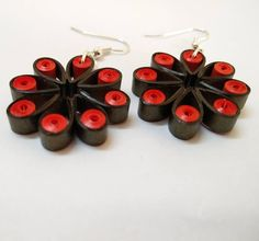 """Flowers style earrings made from quilling strips.  Online etsy store - bit.ly/pHDesigns  #quilling #quilled #jewelry #earrings #quillingearring…"""