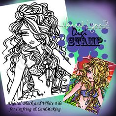 PRINTABLE Digi Stamp Sun Ray Mermaid Coloring Page Fun Fantasy Art Hannah Lynn