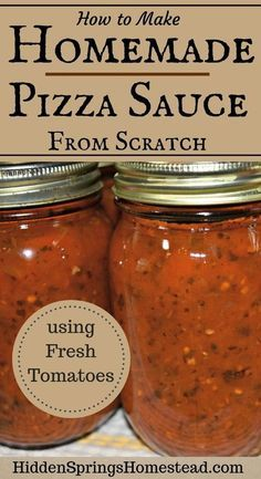 How to make homemade from scratch pizza sauce using fresh tomatoes. It's the best authentic home canned pizza sauce using all fresh ingredients. Garlic, Olive Oil, Spices just pure sweetness. This easy recipe will have you making your own homemade pizza Home Canning Recipes, Cooking Recipes, Healthy Recipes, Pizza Recipes, Canned Tomato Recipes, Fresh Tomato Pizza Sauce Recipe, Canned Foods, Canning Tips, Easy Recipes
