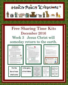 Free Sharing Time Kit: December 2016 Week 3: Jesus Christ will someday return to the earth.