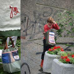 casual bag BONHEUR, both sides, pathwork, embroidered, monogrammed