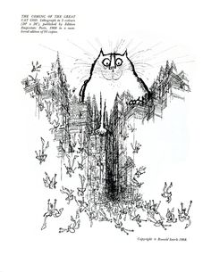 The Coming of the Great Cat God by Ronald Searle.