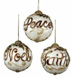 Peace, Noel & Faith Christmas ornaments