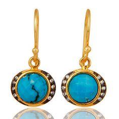 CZ-Gemstone-Dangle-Earrings-18k-Yellow-Gold-Plated-Party-Wear-Fashion-Jewelry