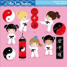Karate Clipart  Karate Kids Clipart/ Karate от CeliaLauDesigns