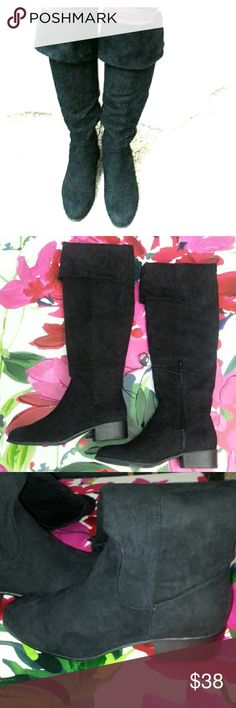 """Knee high cuffed boots """"Genne"""" by Massini Super soft vegan suede with split cuffs on top. Rounded toe, just below knee, inside half zip.  1.5""""heel, 19""""shaft when folded over at the top, 5""""across, 5 . 17 """" diameter Massini Shoes Heeled Boots"""