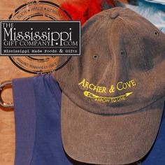 Throw on this cute Archer & Cove hat for those lazy days! Now online! www.TheMississippiGiftCompany.com/archer-and-cove-blue-cap.aspx #shoplocal #shopmississippi #msmade #greenwoodms #archerandcove #hats #summer