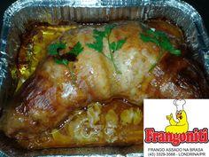 Frangoniti Brachola - Frango inteiro desossado e recheado com bacon, presunto e cenoura assado no forno uma delícia! Fazemos por encomenda 43 3329-3568.
