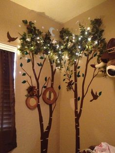 Outdoor, camping, wilderness room: mirrors-Anthropologie; wall decal trees-Etsy; leaves-Hobby Lobby; lights-Ikea